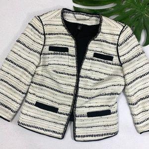 WHBM White & Silver Metallic Tweed Blazer
